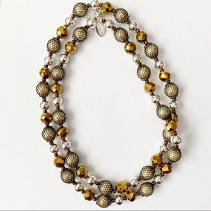 WHBM Mixed Metal Long Beaded Necklace